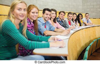salle, étudiants, conférence, rang, sourire, séance