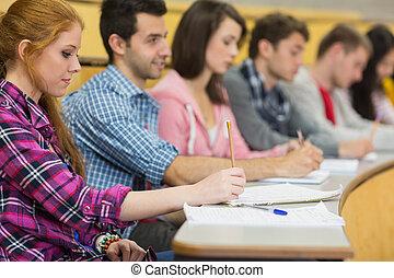 salle, étudiants, notes, conférence, rang, écriture