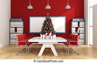salle, arbre, noël, planche
