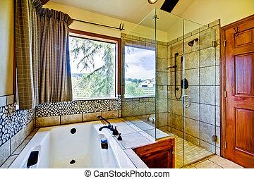 salle bains, à, naturel, tuiles, et, verre, douche