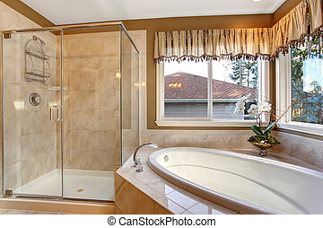 salle bains, élégant, shower., grand verre, maître, carreau, planchers