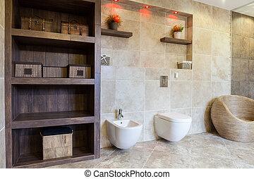 salle bains, éléments, démodé