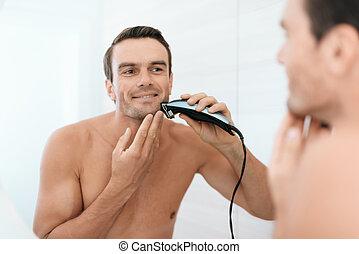 salle bains, électrique, homme, devant, miroir., rasoir, rasages, morning., il