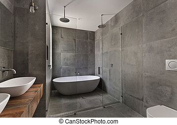 salle bains, appartement, moderne, luxe