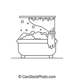 salle bains, baignoire, contour, mousse, illustration., icon.