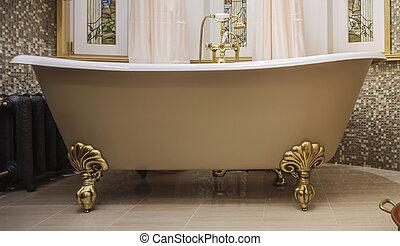 salle bains, baignoire, démodé