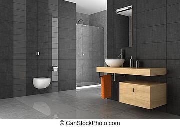 salle bains, bois, carrelé, meubles