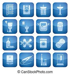 salle bains, carrée, icônes, cobalt, 2d, set: