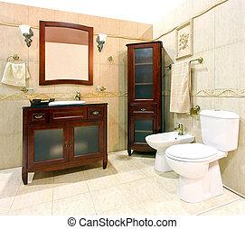 salle bains, conception, classique