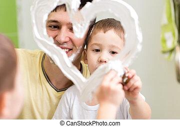 salle bains, enfant, drawiheart, mousse, père, fils, forme, miroir, jouer, rasage