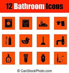 salle bains, ensemble, icône