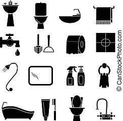 salle bains, ensemble, icônes