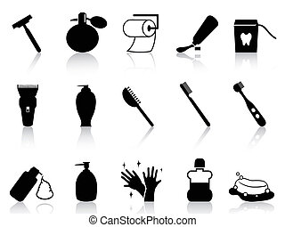 salle bains, ensemble, noir, accessoires, icône