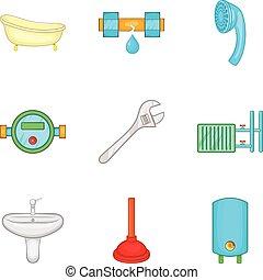 salle bains, ensemble, style, nettoyage, dessin animé, icône