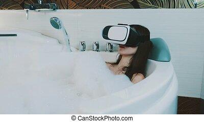 salle bains, entiers, relâcher, mousse, tête, virtuel, bain, girl, réalité, lunettes