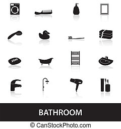 salle bains, eps10, icônes