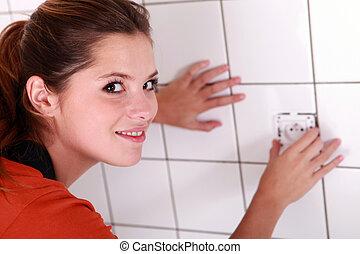 salle bains, femme, électrique, essayage, sortie