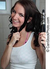 salle bains, femme, bordage, elle, jeune, cheveux, joli