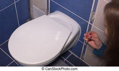 salle bains, femme, pipette, grossesse, attente, résultat, essai, girl