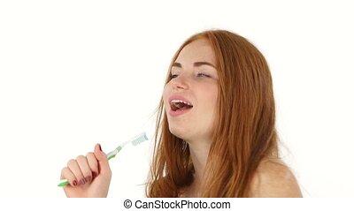 salle bains, femme, séchoir, haut, cheveux, roux, fin, blanc, chant