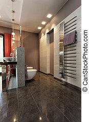 salle bains, gris, carrelé