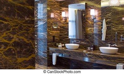salle bains, hôtel, coup, chariot, luxueux