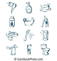 salle bains, icônes