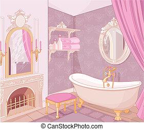 salle bains, intérieur, palais