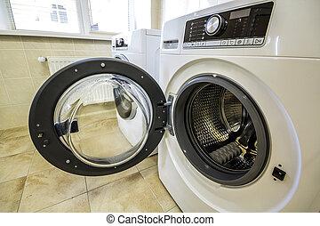 salle bains, lavage haut, machine, fin, ouvert