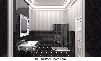 salle bains, luxueux, concepteur