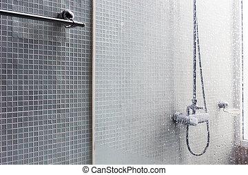 salle bains, moderne, conception, intérieur, maison, salle bains