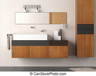 salle bains, moderne, détail