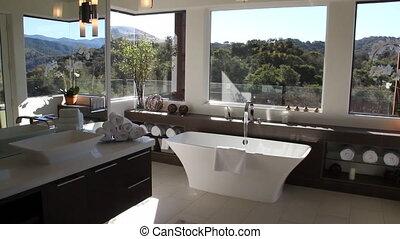salle bains, moderne, luxueux
