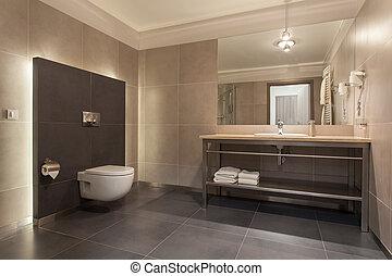 salle bains, moderne, -, pays boisé, hôtel