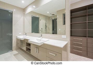 salle bains, moderne, robe, promenade