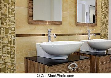 salle bains, moderne, sombrer
