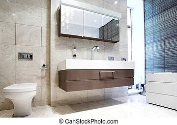 salle bains, moule, miroir