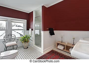 salle bains, murs, rouges