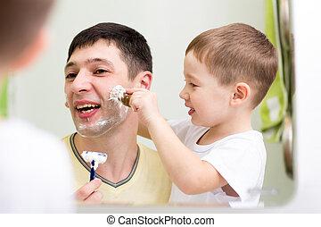 salle bains, père, ensemble, fils, enfant, maison, rasage