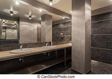 salle bains, pays boisé, hôtel, -, intérieur, public