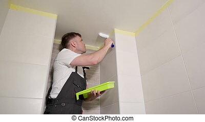 salle bains, plafond, homme, peintures