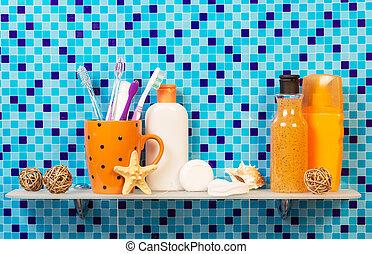 salle bains, produits, étagère, hygiène personnelle
