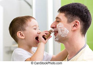 salle bains, rasage, père, mignon, enfant garçon, sien