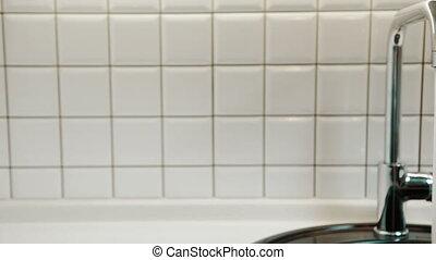salle bains, robinet, fluxs, eau, propre, apartment.