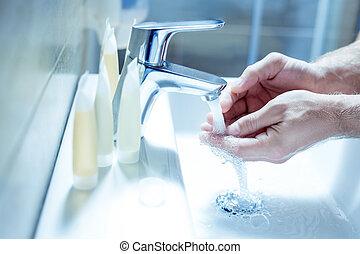 salle bains, sien, matin, mûrir, routine, homme affaires, apprécier