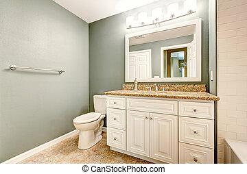 salle bains, sommet, cabinet, granit, blanc, vanité