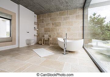 salle bains, surprenant, spacieux