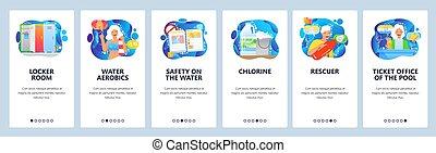 salle, bannière, rules., eau, site web, illustration, aérobic, sauveteur, casier, natation, onboarding, toile, vecteur, development., sécurité, menu, pool., mobile, site, conception, app, gabarit, screens.