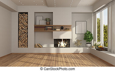 salle, blanc, vide, cheminée