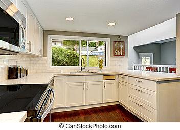 salle, bois dur, floor., intérieur, blanc, cuisine